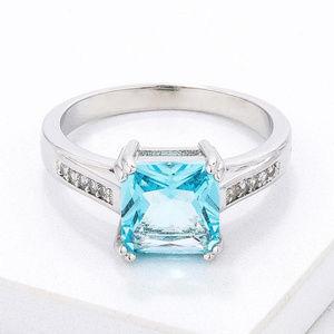 Light Blue CZ Princess Cut Ring